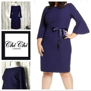 Chi Chi London Navy bell sleeve cocktail dress NWT